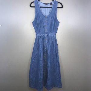 Eddie Bauer Blue Jean Button Front Denim Dress